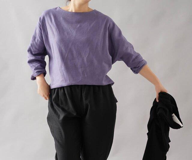 【wafu】中厚地 リネン ブラウス ドルマンスリーブ 裾スリット/ヴィオラッセ グリーゼ t002b-vsg2の画像1枚目