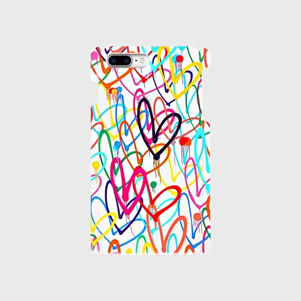 """アートペイント """"ドットハート"""" ① iphone 6plus/7plus/8plus 専用  ハードケースの画像1枚目"""