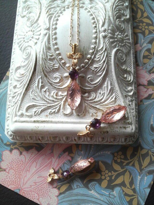 ヴィンテージ  Rosaline-Leaf/Purple/すみれ ネックレスの画像1枚目