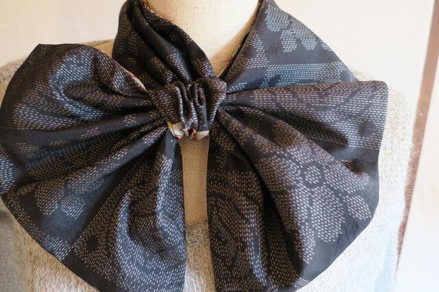 大島紬の リバーシブル変わりスカーフの画像1枚目