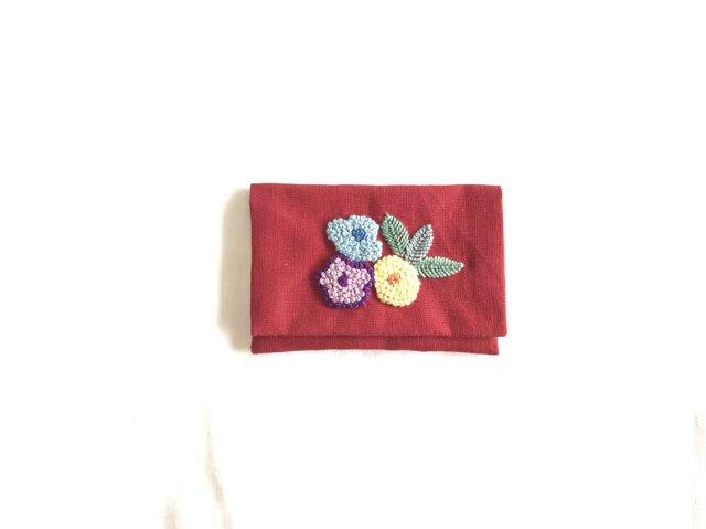 お花のカードケース(あか)の画像1枚目