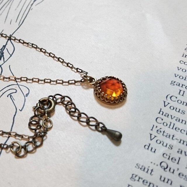 オールドローズカットトパーズの一粒ネックレスの画像1枚目