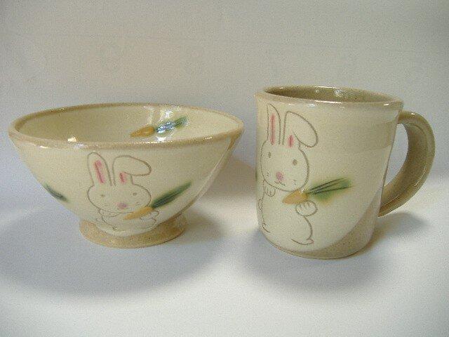 うさぎのマグカップとお茶碗のセットの画像1枚目