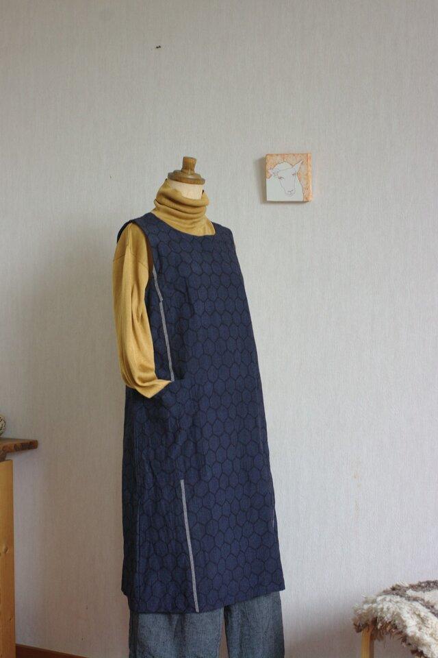 結城紬亀甲柄ワンピース(受注製作)の画像1枚目