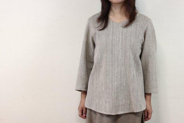 8分袖 V襟 ゆったりプルオーバーシャツ (グレー)の画像1枚目