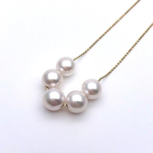 アコヤ真珠 5粒 スルーペンダント あこやパール K18 日本製ゴールドチェーン 金属アレルギー対応 送料無料の画像1枚目