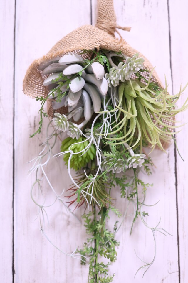 多肉植物のスワッグ 造花の画像1枚目