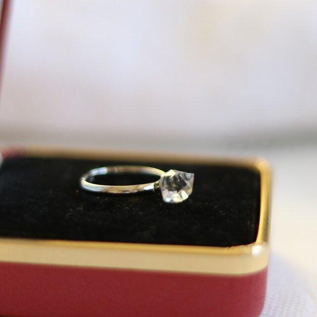 (一点もの)ハーキマーダイヤモンドのピンキーリング(フリーサイズ)の画像1枚目