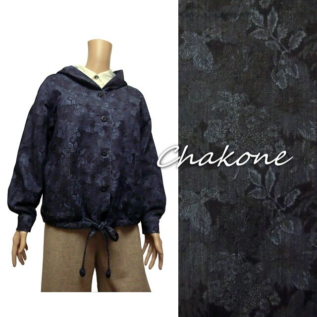 【ジャケット】フードつきジャケット・パーカー・裾ドローストリング(ML) リバティ デニム(花柄)の画像1枚目