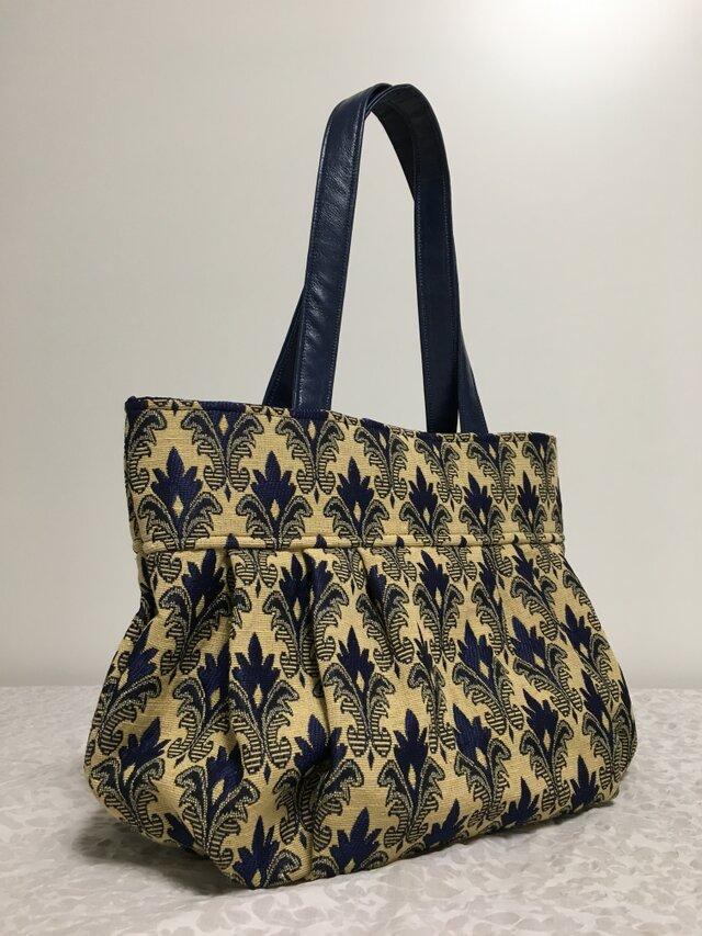 ネイビー:ゴブラン織りのグラニーバッグの画像1枚目