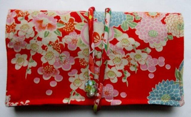 花柄の長襦袢で作った和風財布・ポーチ 3795の画像1枚目