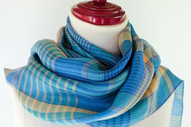 手織り絹ストール【彩月】  #01の画像1枚目
