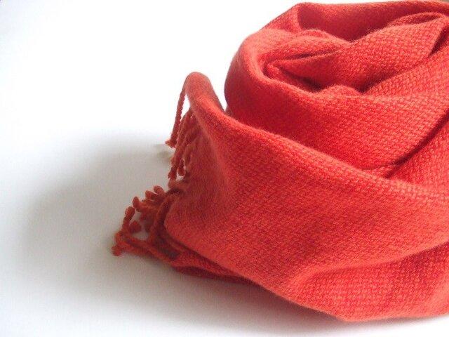 手織りカシミアストール・・トマトレッドの画像1枚目