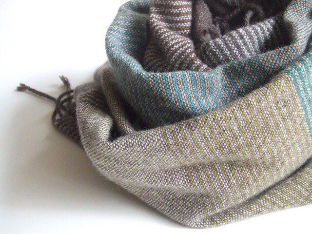 手織りカシミアストール・・茶と緑のしましまの画像1枚目
