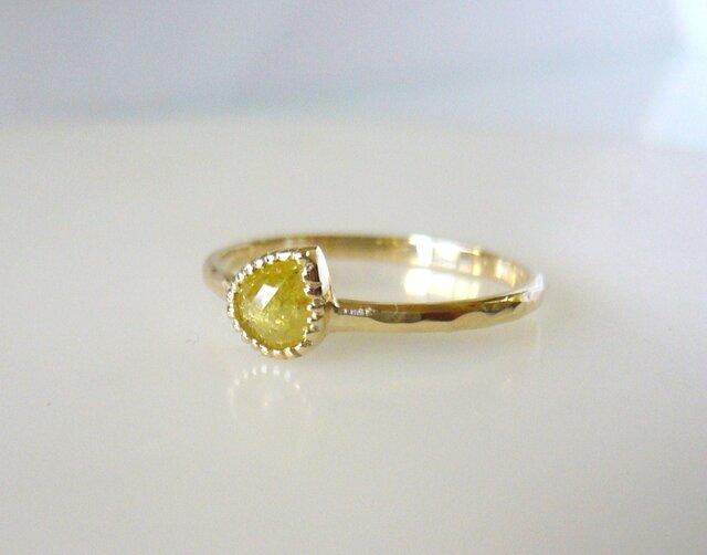 ナチュラルダイヤのK14の指輪(イエローペアシェイプ)の画像1枚目