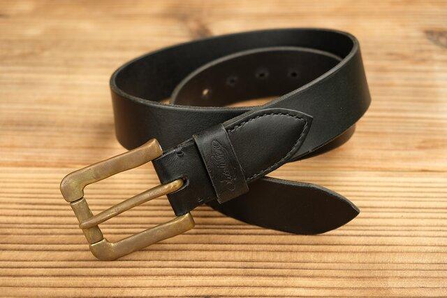 ベルト(真鍮製バックル):ブラックの画像1枚目
