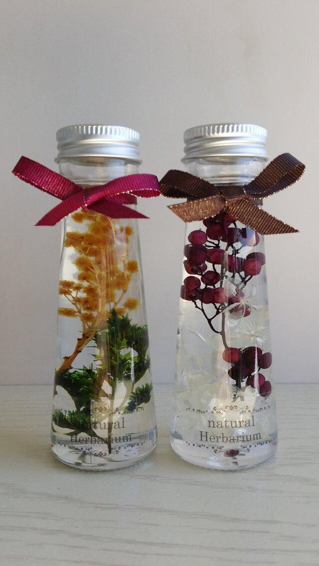 ミモザとペッパーベリーの秋の装い ハーバリウム 2本セット♫の画像1枚目