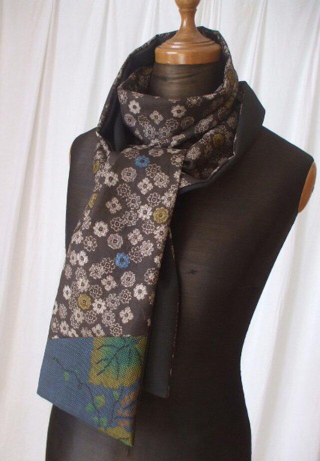 泥大島と留袖のシックなストール 絹 2018秋の装いの画像1枚目