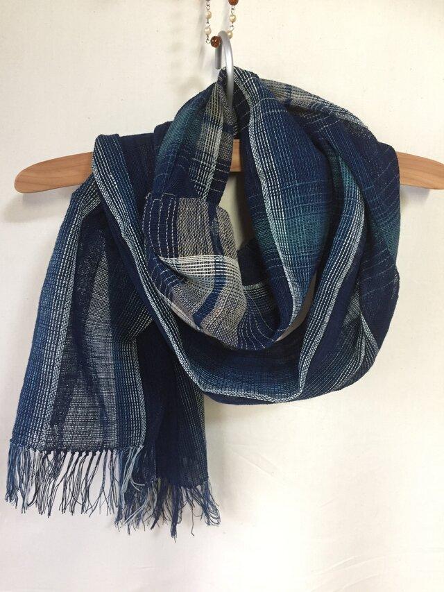 藍染めの手織りストール c32の画像1枚目