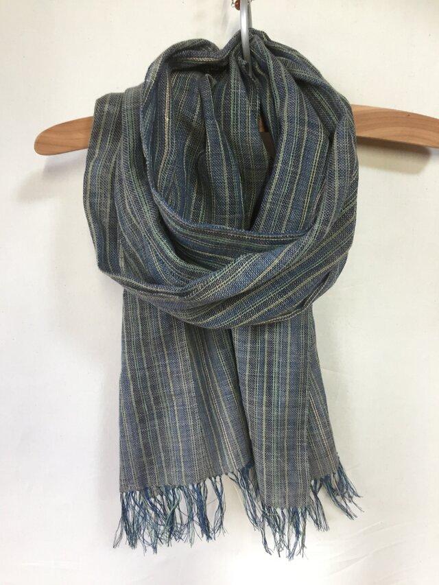 藍染めの手織りストール c35の画像1枚目