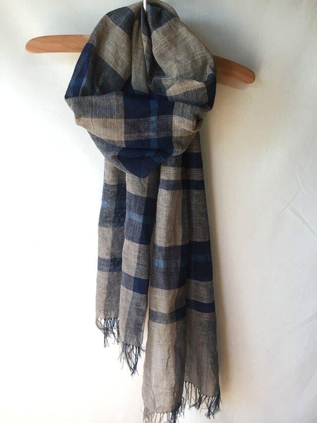 藍染めの手織りストール c44の画像1枚目