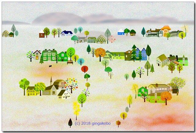 「秋めいて北欧」 ほっこり癒しのイラストポストカード2枚組No.627の画像1枚目