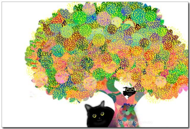 「黒猫ちゃんとフクロウくんの関係」 ほっこり癒しのイラストポストカード2枚組No.626の画像1枚目