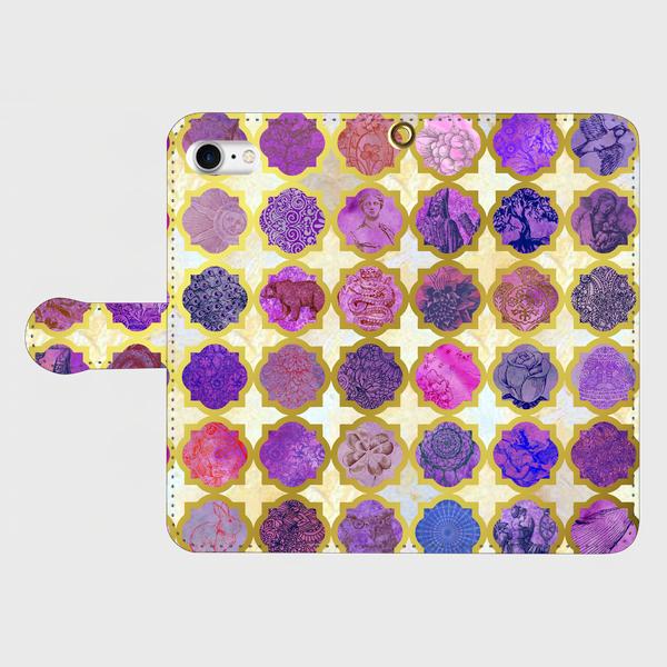 モロカンタイルパターン (アミュレット)<パープル>  iphone 5/5s/6/6s/SE/7/8/X 専用 手帳型ケースの画像1枚目