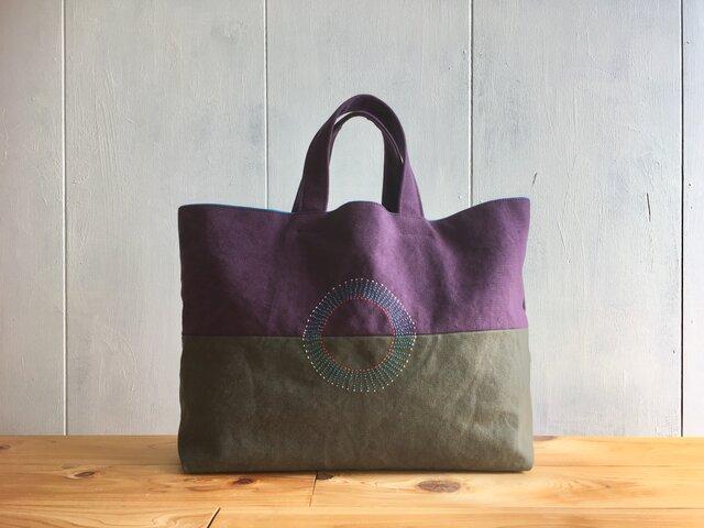 【受注製作】葡萄色とカーキグレーの刺繍入り鞄の画像1枚目