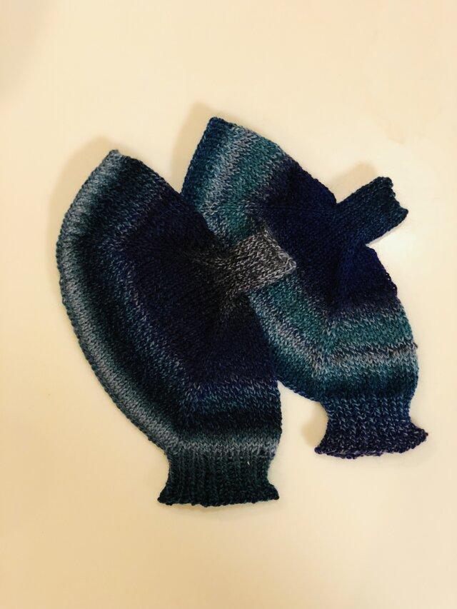 送料込ドイツソックヤーンの手編み手袋の画像1枚目
