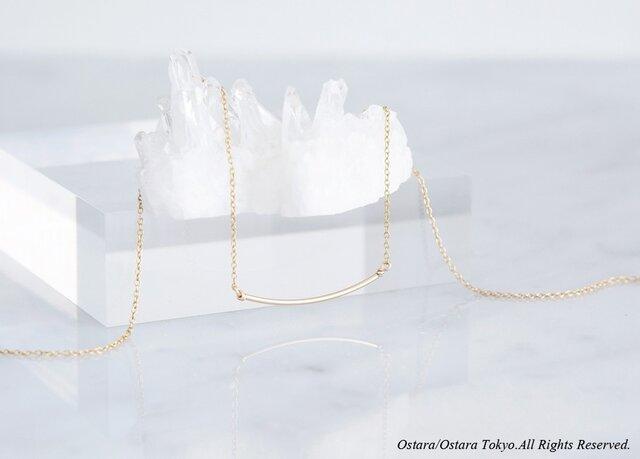 【Minimalism】14KGF Cuvy Bar Necklace,-- GoldxGold--の画像1枚目