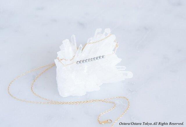 【Minimalism】14KGF Necklace,Gems Bar-- SilverxGold--の画像1枚目