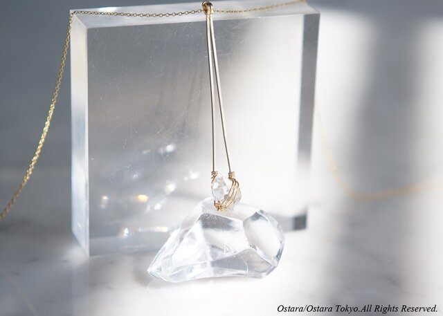 【Minimalism】14KGF Long Necklace,-NY Herkimerdiamond-の画像1枚目