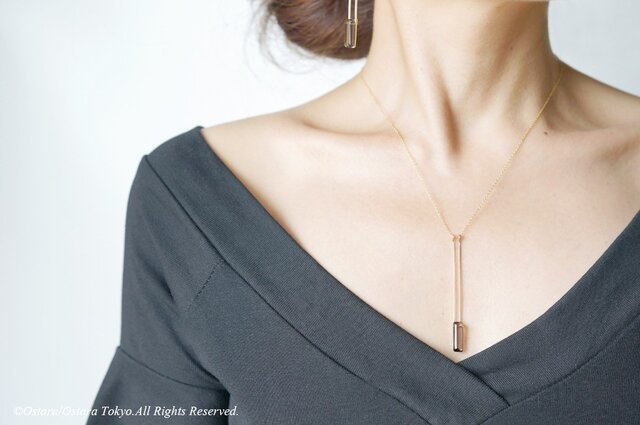 【Minimalism】14KGF Long Rectangle Necklace,の画像1枚目