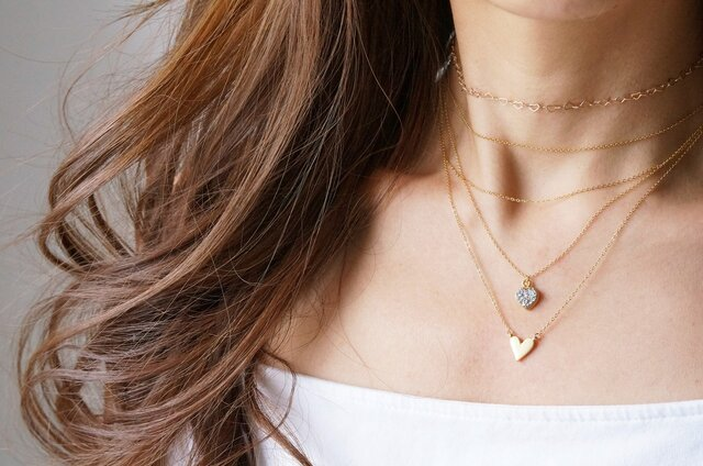 【Minimalism】14KGF Heart Chain Choker Necklace[35cm]の画像1枚目