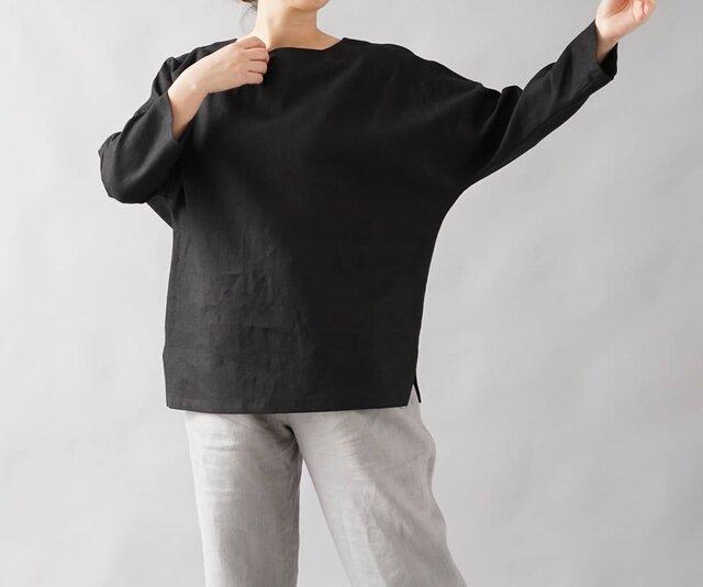 【wafu】中厚地 リネン ブラウス ドルマンスリーブ トップス 裾スリット 長袖/ブラック t002b-bck2の画像1枚目
