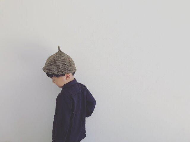 【受注製作】オーガニックコットンガラ紡ロールどんぐり帽子(ブラウン)Lの画像1枚目