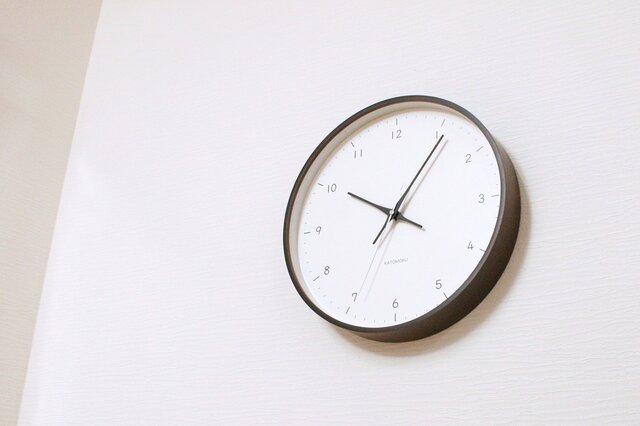 KATOMOKU plywood wall clock 12 電波時計 連続秒針 km-80BRCの画像1枚目
