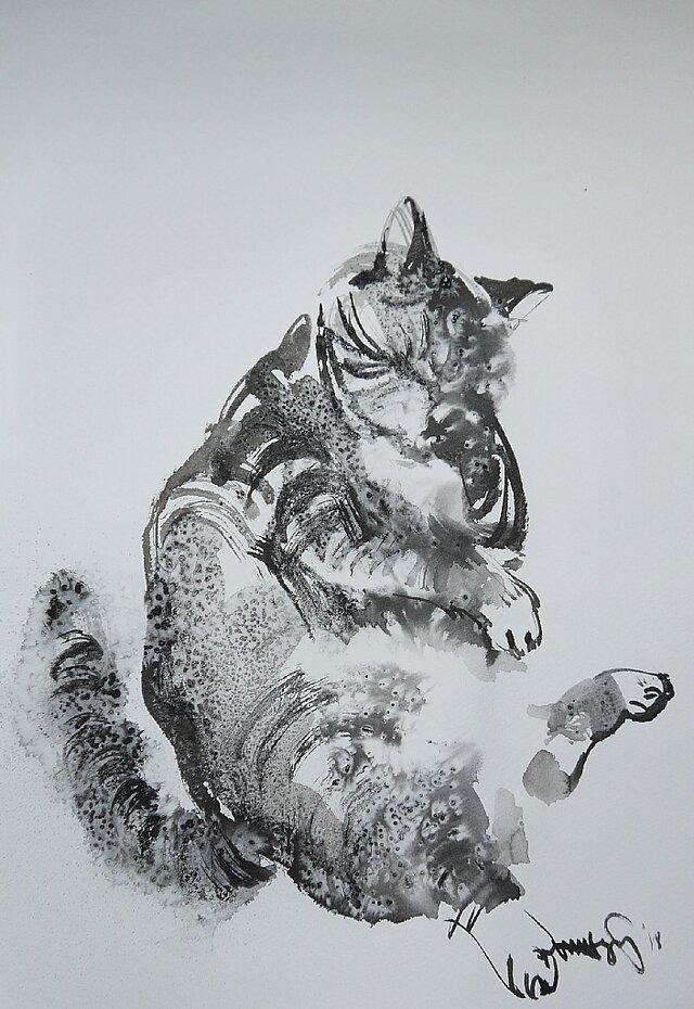 Lazy Cat 2(墨絵、水彩画用紙、24,5cm×35cm)の画像1枚目