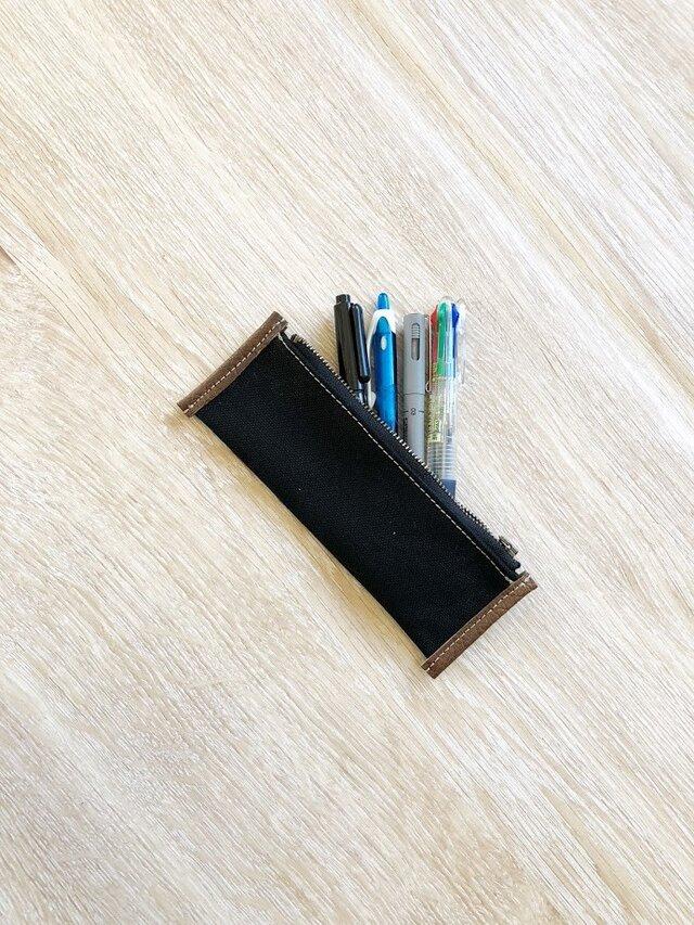 スリム ペンケース 帆布 ブラックの画像1枚目