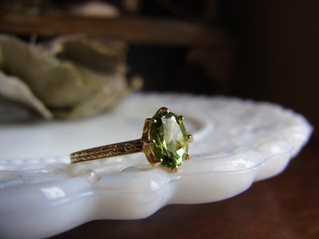 特価 K18グリーントルマリンのリングの画像1枚目