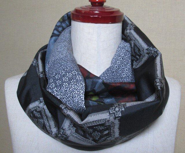 着物リメイク 2種類の泥大島紬×江戸小紋から作ったお洒落な大人スヌードの画像1枚目