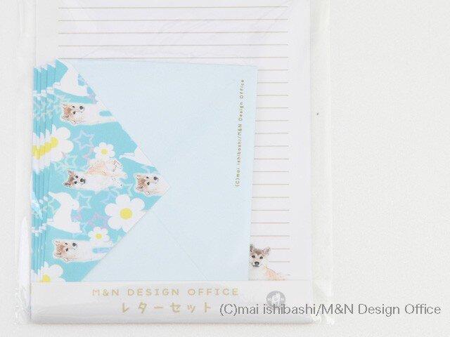 柴犬のイラストレターセット/ブル(便箋&封筒)の画像1枚目