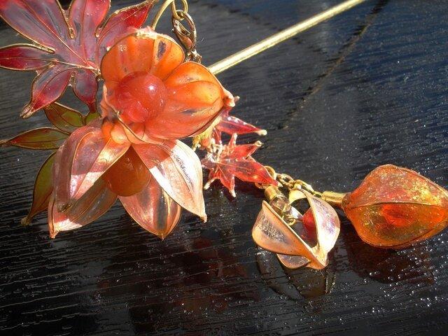 【再販】秋へ(鬼灯と紅葉のかんざし)の画像1枚目