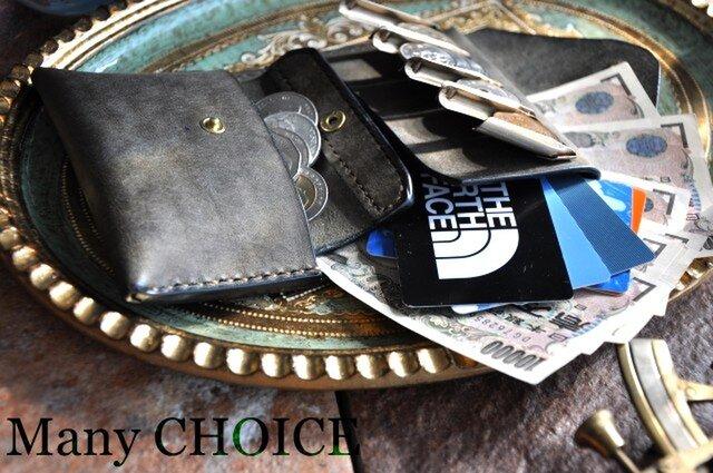 イタリアンレザー・革新のプエブロ・2つ折りコインキャッチャー財布(改)(グリージオ)の画像1枚目