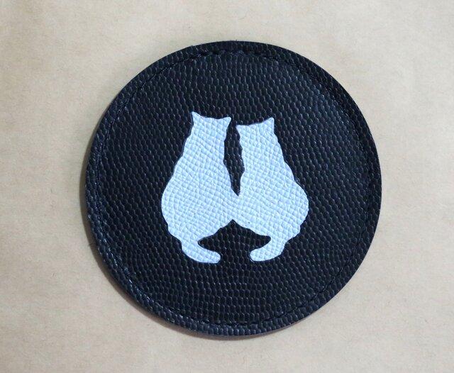 牛革★コースター★二匹のネコ★犬やネコ(8A04)の画像1枚目