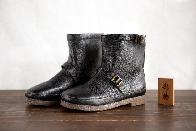 【受注製作】一枚革で作る牛革ブーツ 快適な履き心地 防寒 靴 黒KBB739の画像1枚目