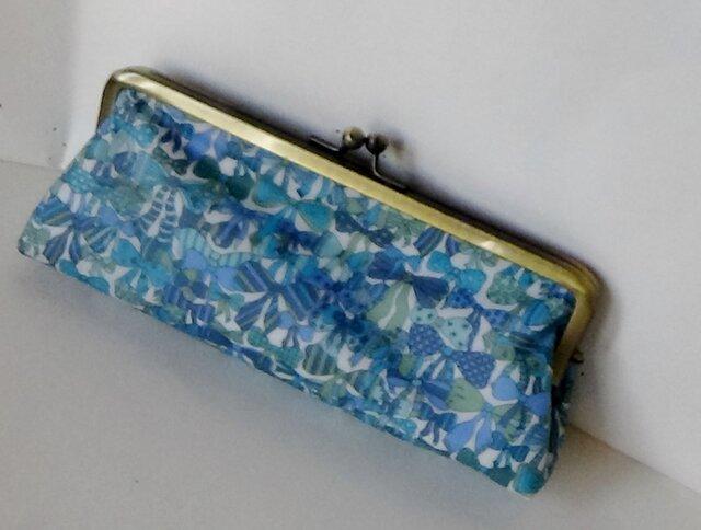 セール品 リバティ ジェニーズリボン ビニコ(ブルー) がま口ペンケースの画像1枚目