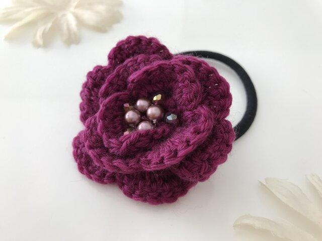 フラワー毛糸編みヘアゴム ラズベリーの画像1枚目