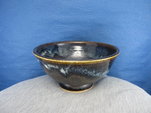 陶器ご飯茶碗(大)青黒天目釉の画像1枚目